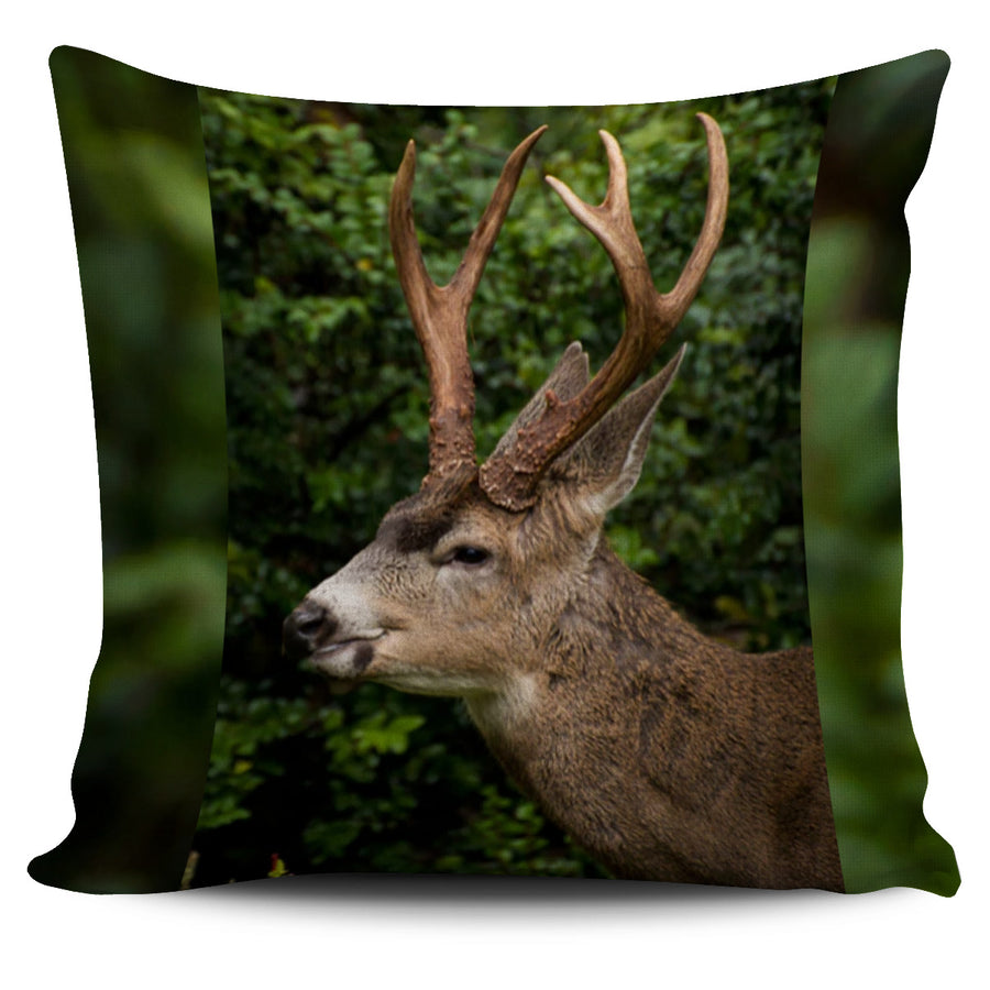 Deer Head Green Pillow Cover