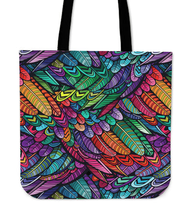 Boho Feathers - Linen Tote Bag