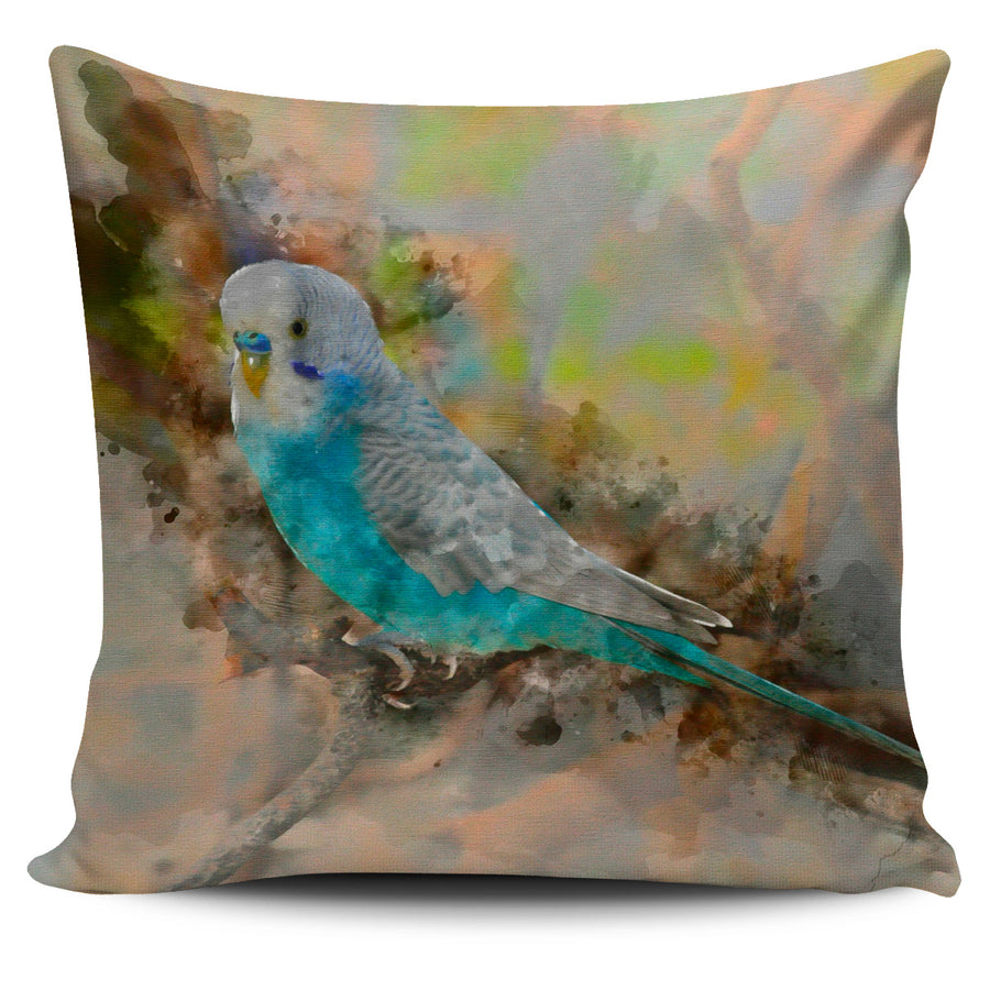 Blue White Parakeet Colored Pillow Cover