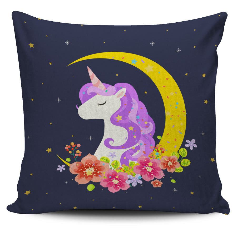 Dark Blue Starry Night Crescent Moon Unicorn Pillow Cover