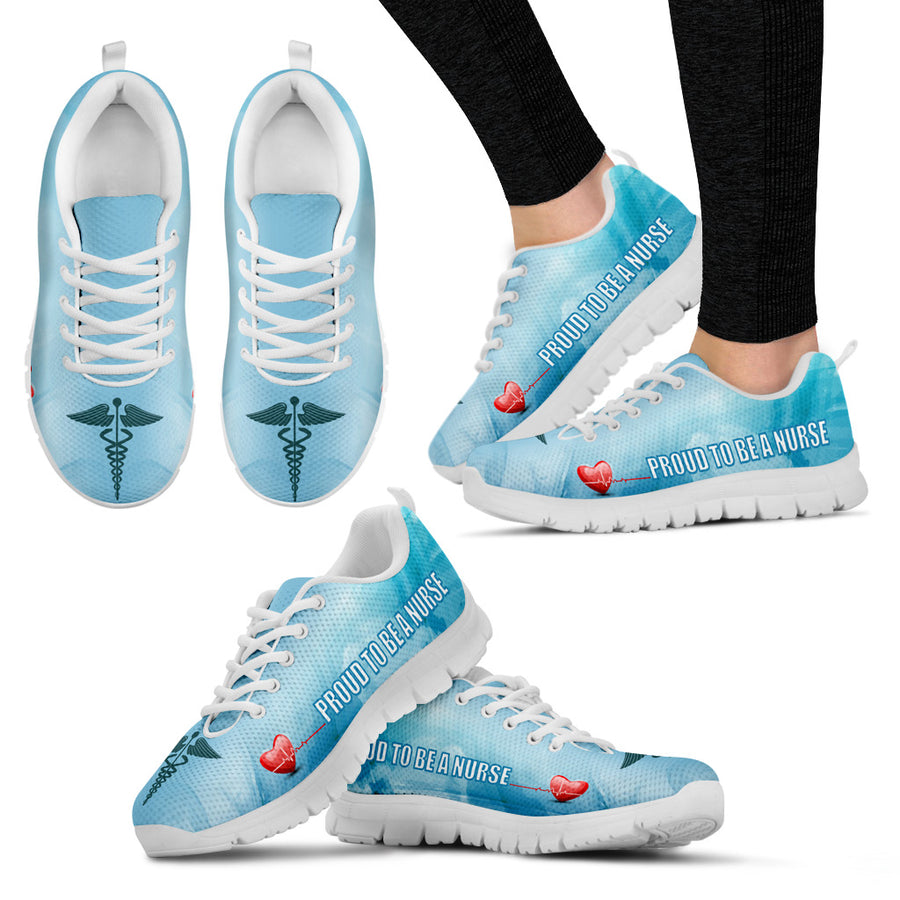 Blue Proud To Be A Nurse - White Sole - Sneakers