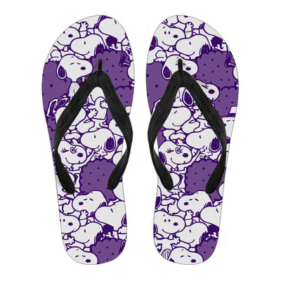 Snoopy Flip Flops Dark Purple