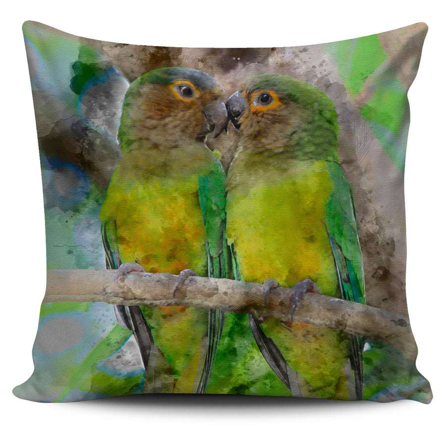 Brown Throated Parakeets Colored Pillow Cover