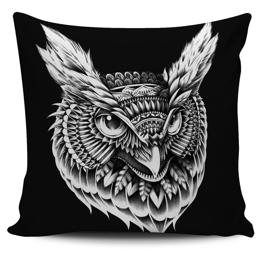 ORNATE OWL HEAD PILLOW COVER - BLACK