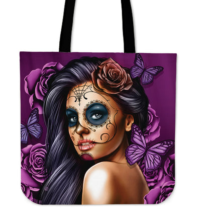 Calavera - Purple - Linen Tote Bag