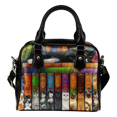 Cat's Bookshelf Hand Bag