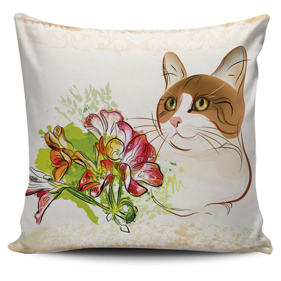 Cat with Flower 2 Pillow Cover