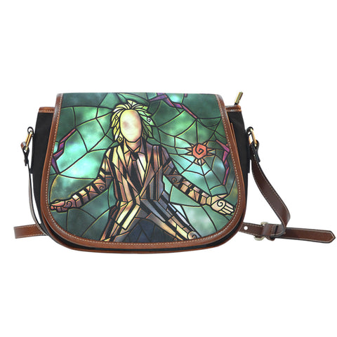 Beetle Juice Stained Glass Saddle Bag