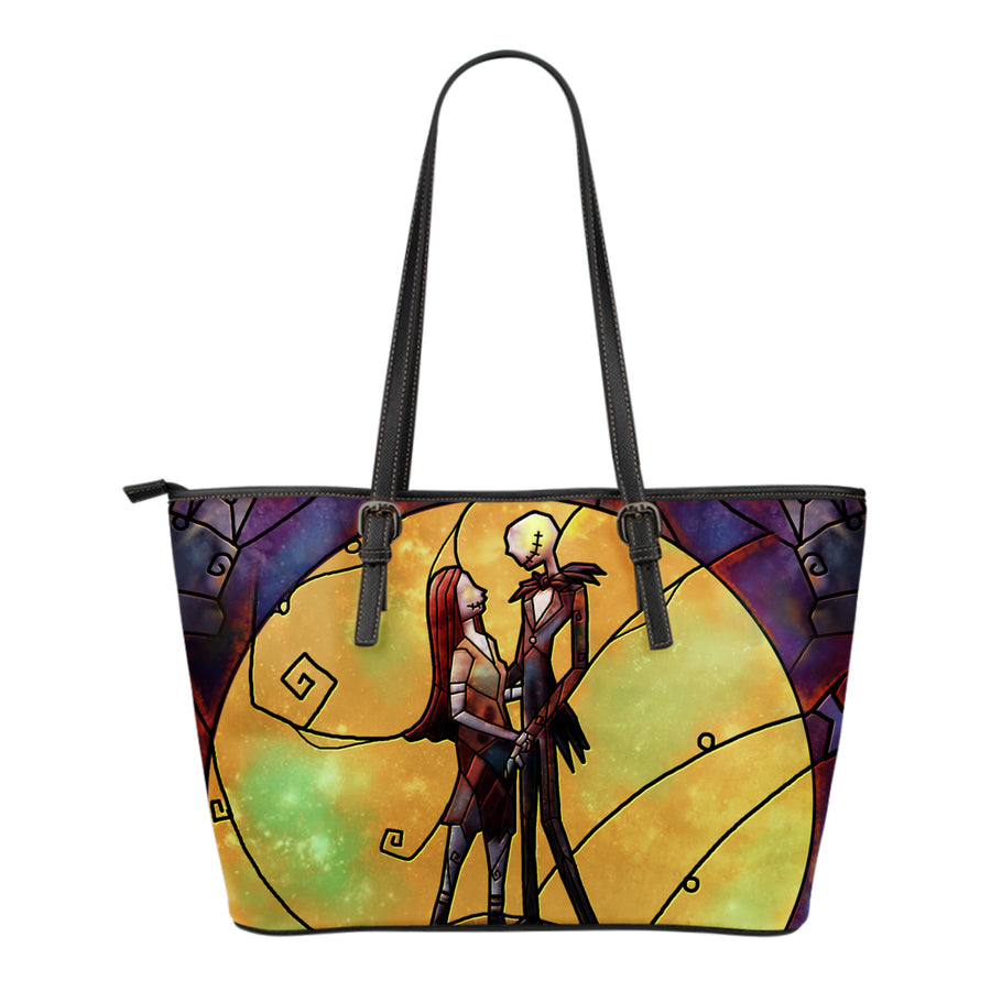 Nightmare Before Christmas Jack and Sally Stained Glass Tote Bag