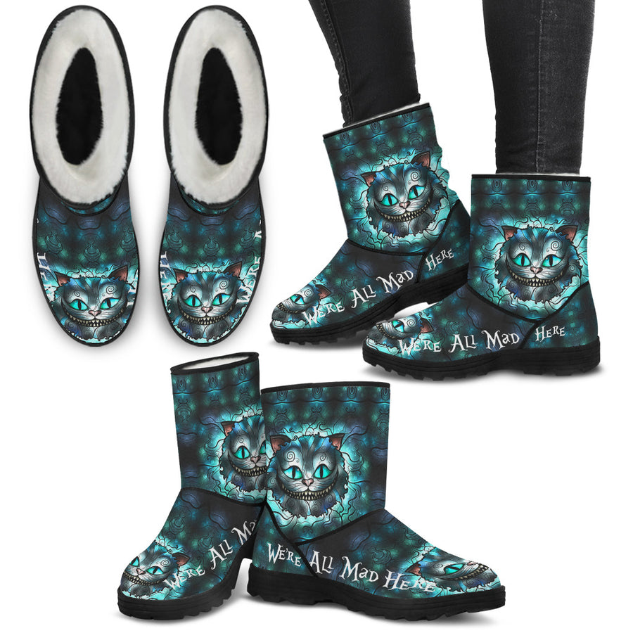 We're All Mad Here - Faux Fur Boots
