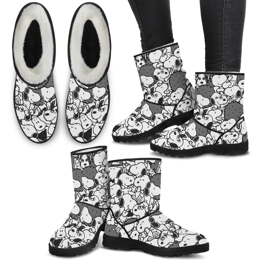 Snoopy Black - Faux Fur Boots