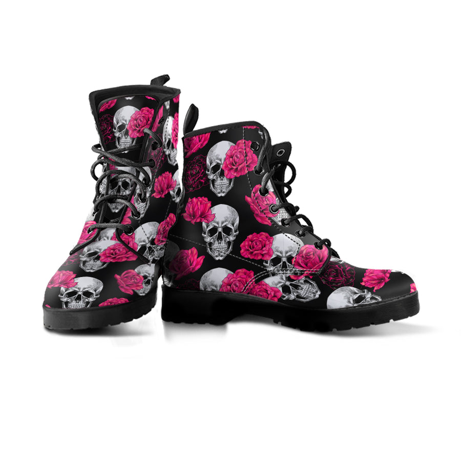 Pink Floral Skull - Boots