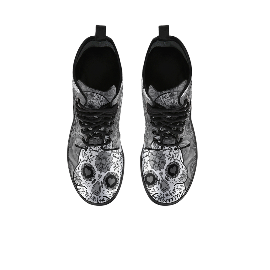 Black & White  Sugar Skull - Boots