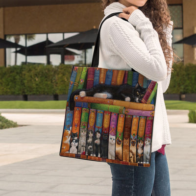 Cat's Bookshelf Tote Bag