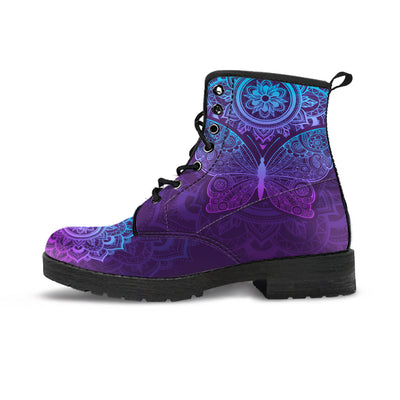 Purple Butterfly - Leather Boots