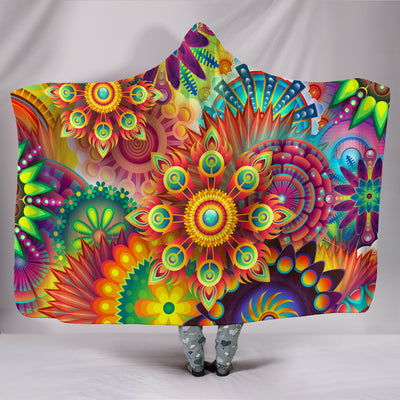 Abstract Floral Hooded Blanket