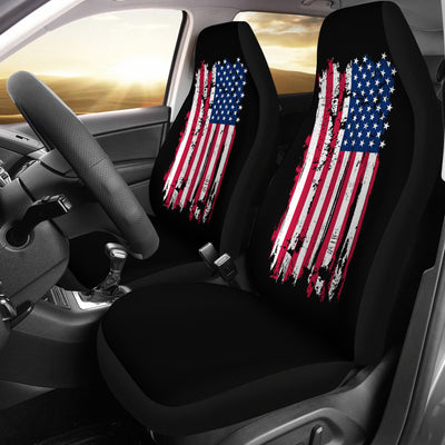 American Flag on Black - Car Seat Cover (Set of 2)