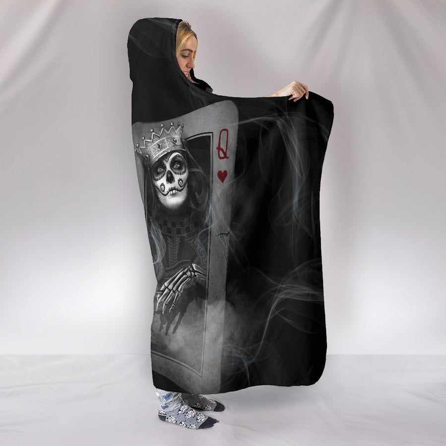 Skull Play Cards - Hooded Blanket