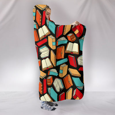 Book Lovers Pattern -  Hooded Blanket