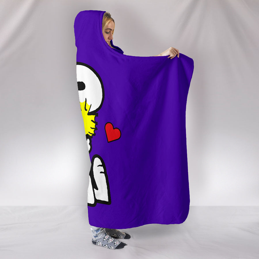 Snoopy and Woodstock Hooded Blanket - Purple