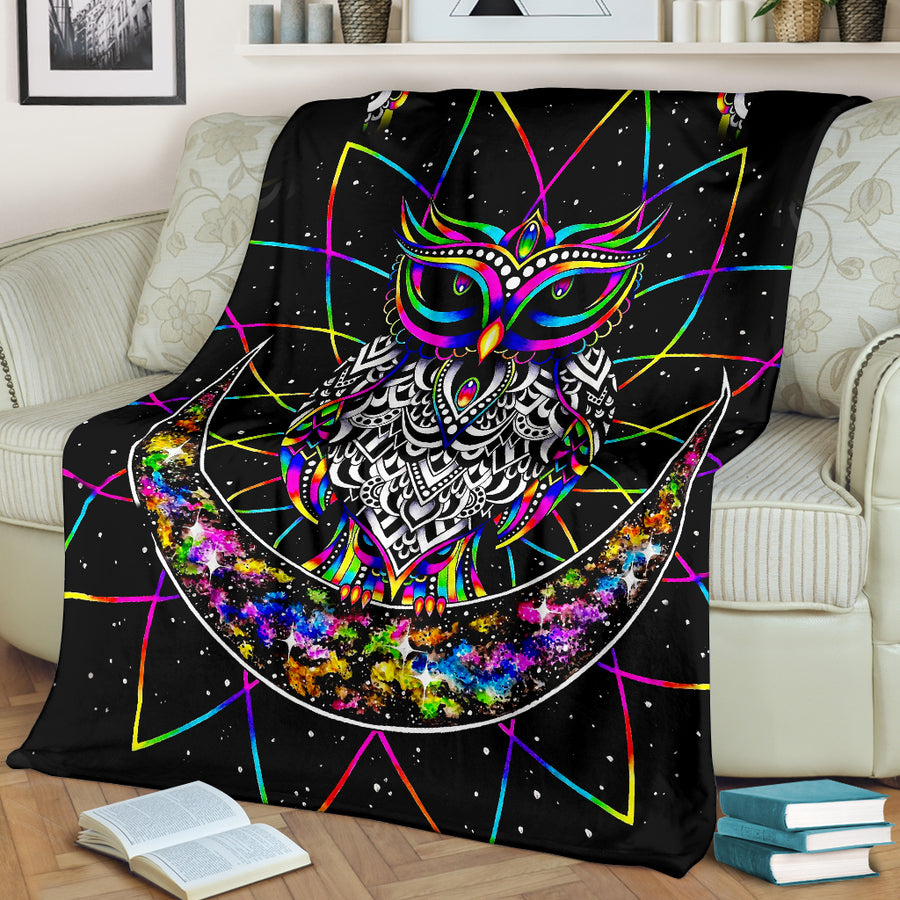 Colourful Owl - Premium Blanket