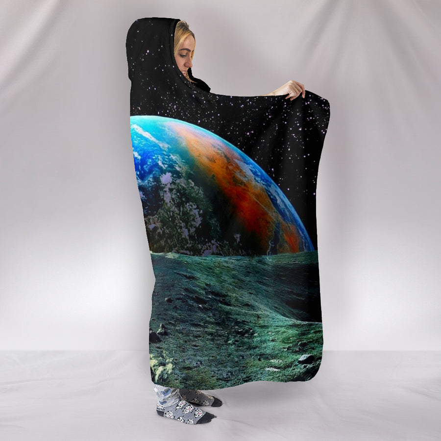 Earth From The Moon - Hooded Blanket