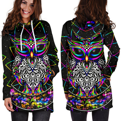 Colourful Owl - Hoodie Dress
