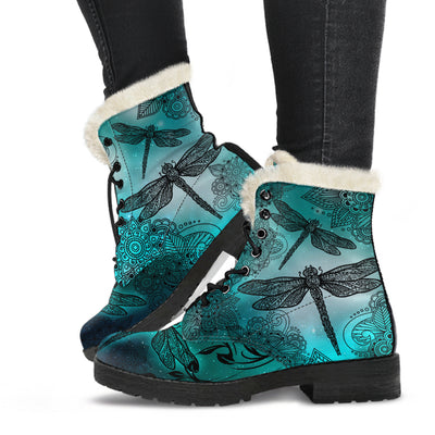 Magic Dragonflies Green - Faux Fur Leather Boots