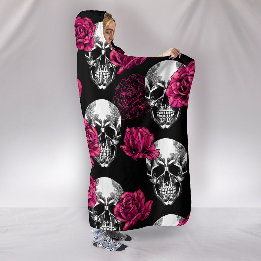 Pink Floral Skull - Hooded Blanket