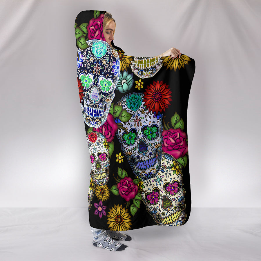 Sugar Skull - Hooded Blanket