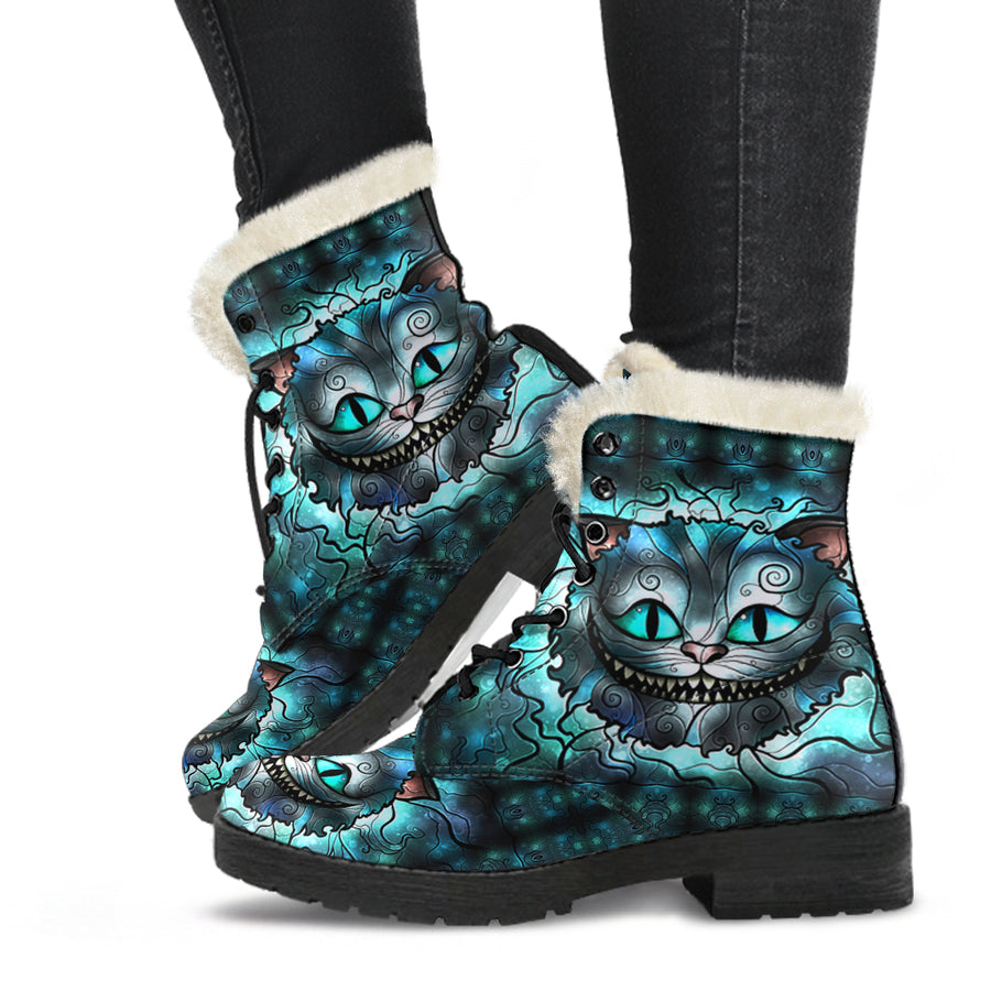 We're All Mad Here - Faux Fur Leather Boots