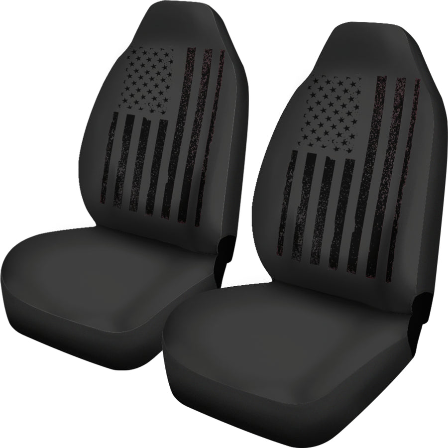 USA Flag Black Car Seat Covers (Set of 2)