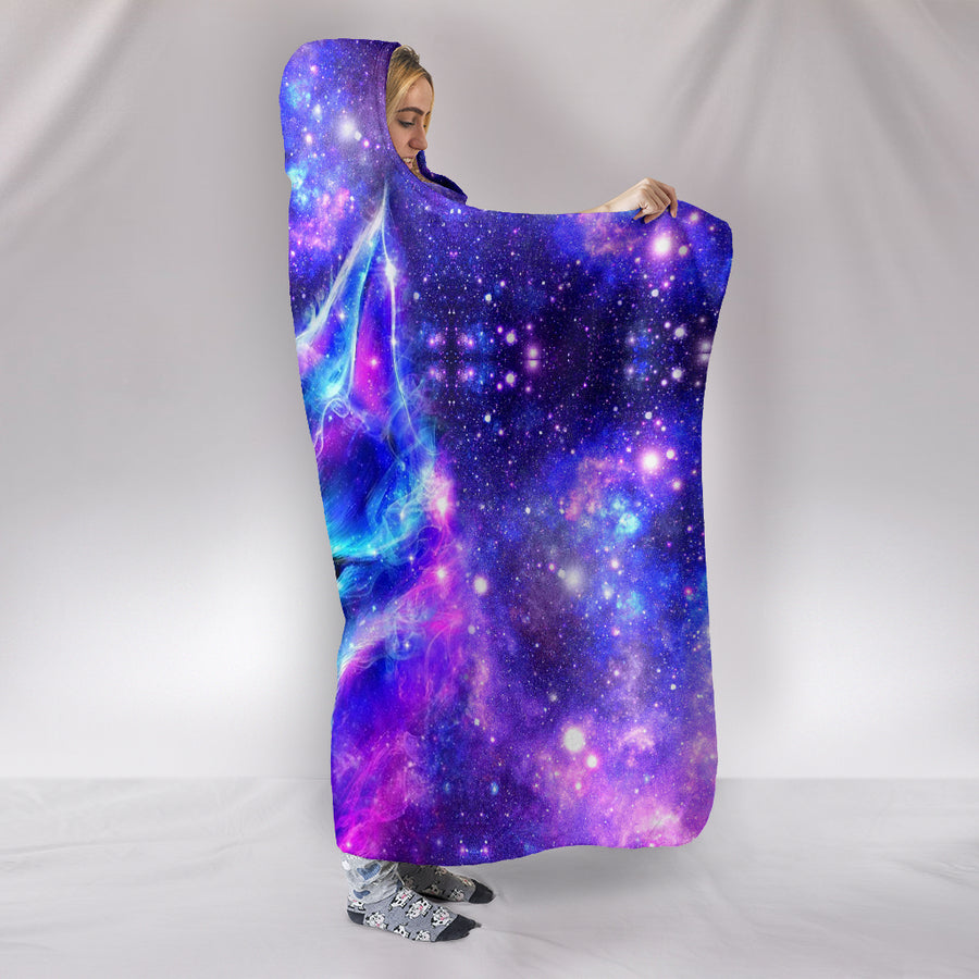 Galaxy Wolf - Hooded Blanket