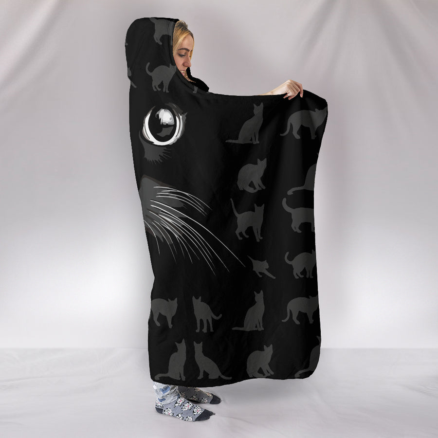 Black Cat - Hooded Blanket
