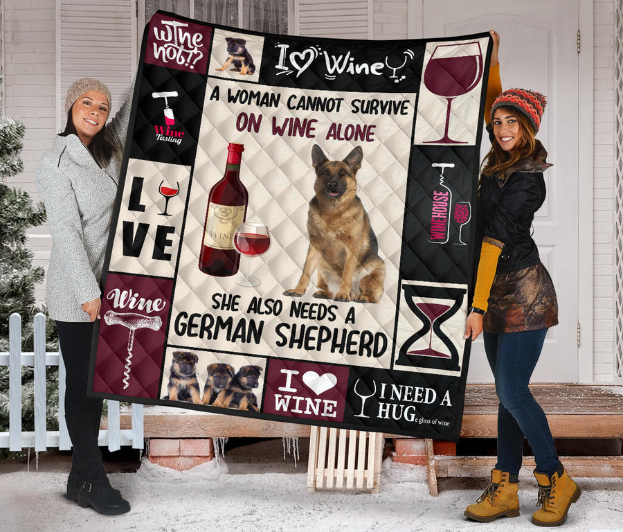 Wine and German Shepherd - Premium Quilt
