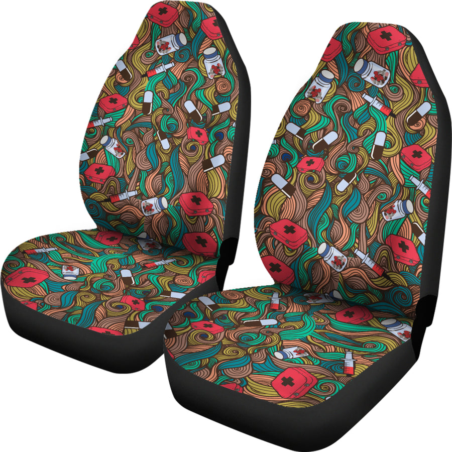 Nurse Hand Drawn Car Seat Covers (Set of 2)