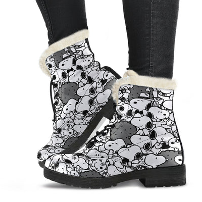 Black Snoopy - Faux Fur Leather Boots