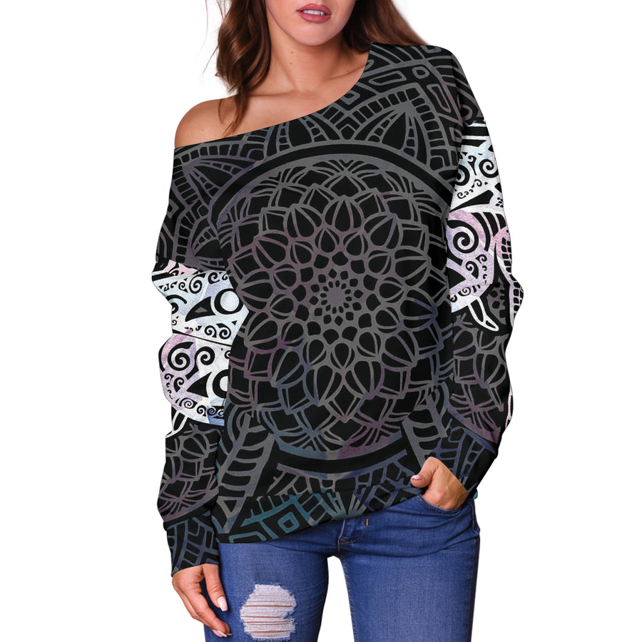 Power Mandala Dragonfly - Off Shoulder Sweater