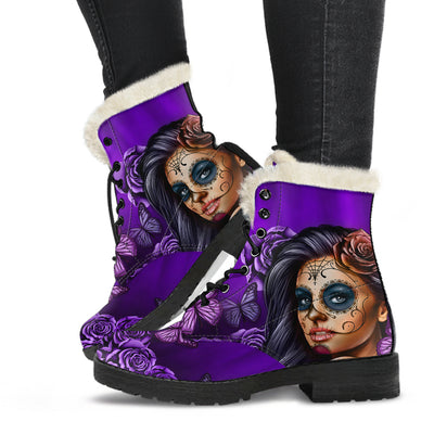 Calavera Purple - Faux Fur Leather Boots