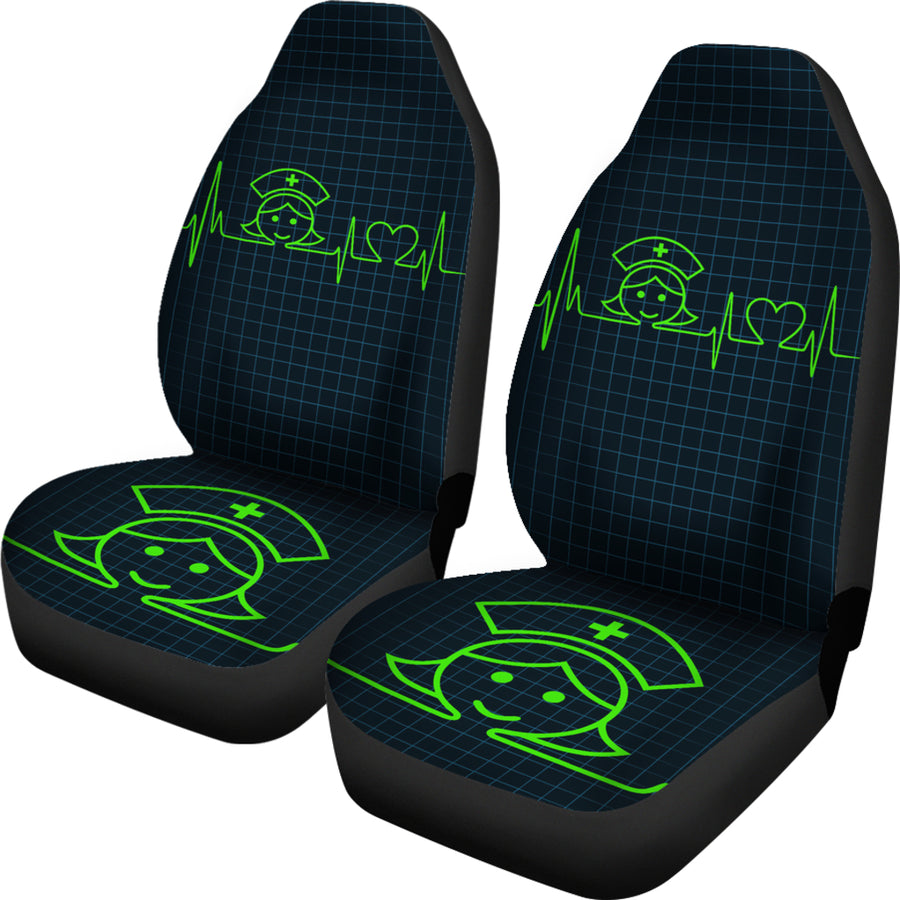 Nurse Heartbeat Green - Car Seat Cover (Set of 2)