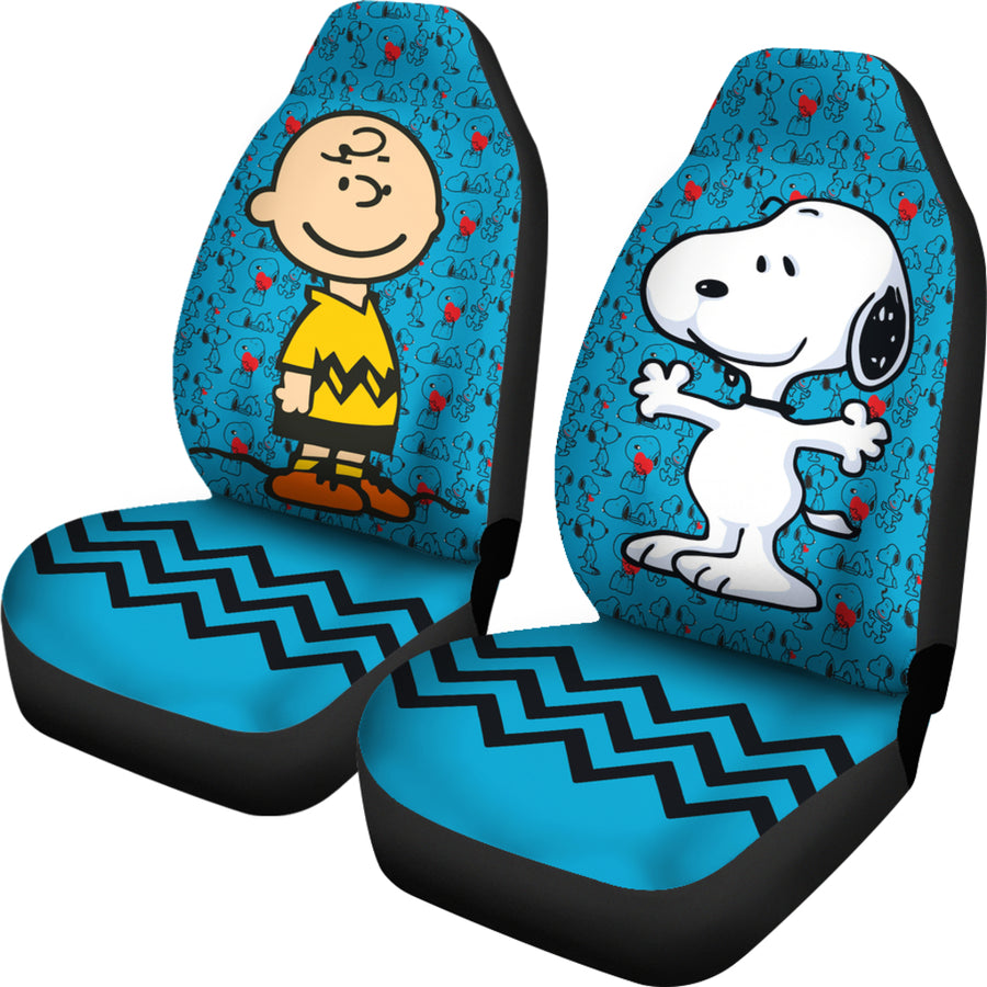 Charlie & Snoopy Aqua Blue - Car Seat Covers