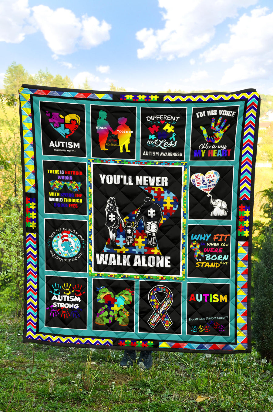 Austism - You'll Never Walk Alone - Premium Quilt