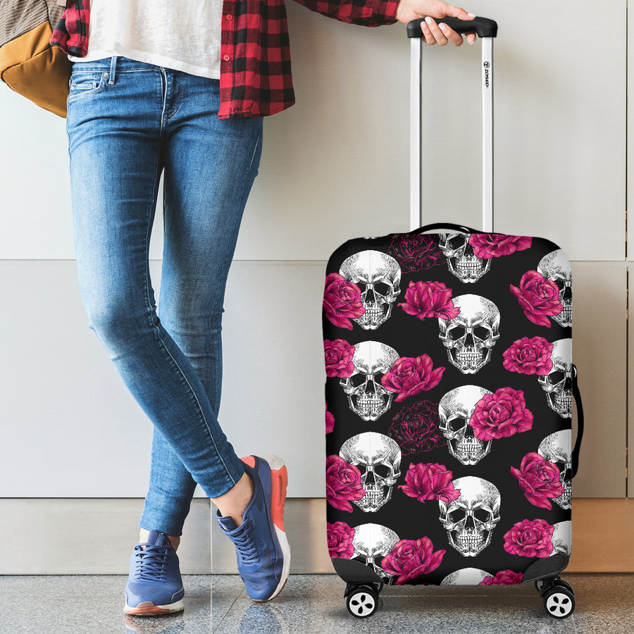 Pink Floral Skull - Luggage Covers