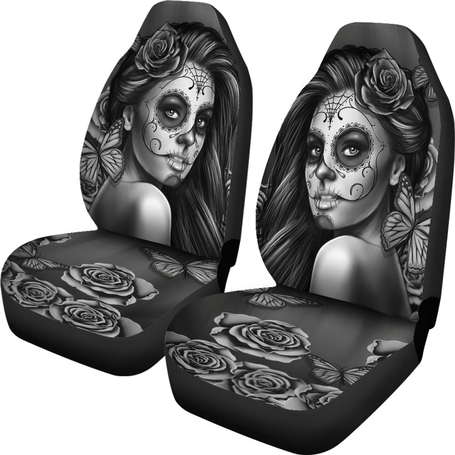 Calavera Black And White Car Seat Covers (Set of 2)