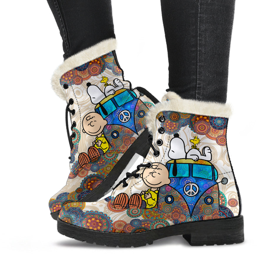 Snoopy on VW - Faux Fur Leather Boots