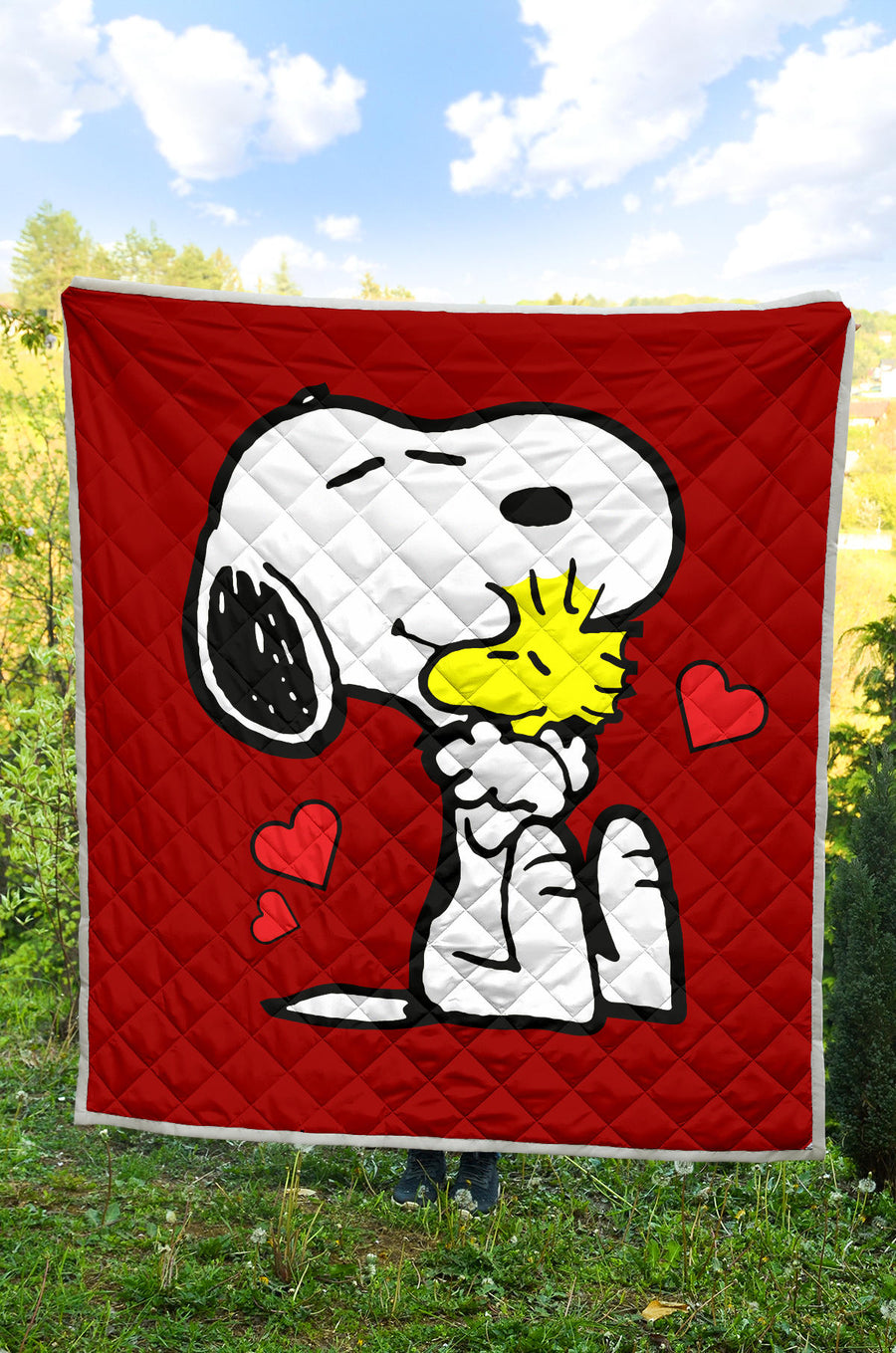 Red Snoopy and Woodstock - Premium Quilt
