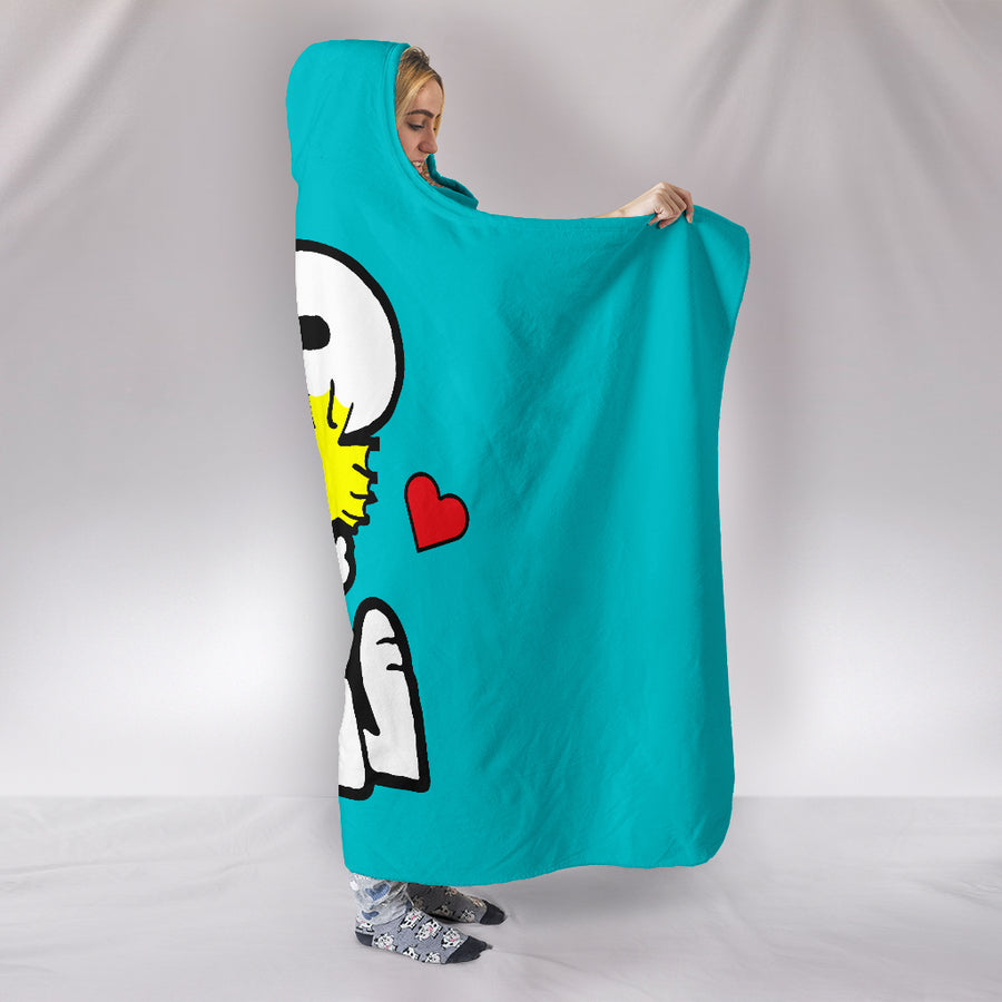 Snoopy and Woodstock Hooded Blanket - Turquoise