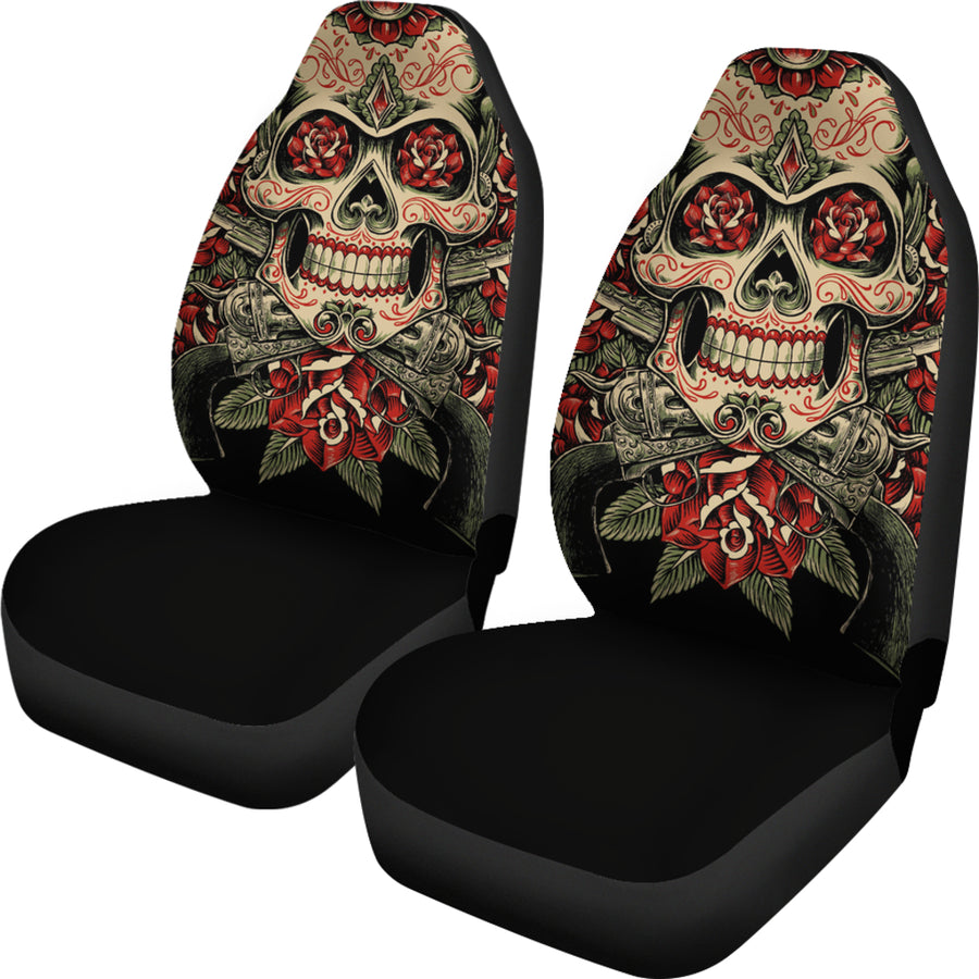 Skull And Roses - Car Seat Covers