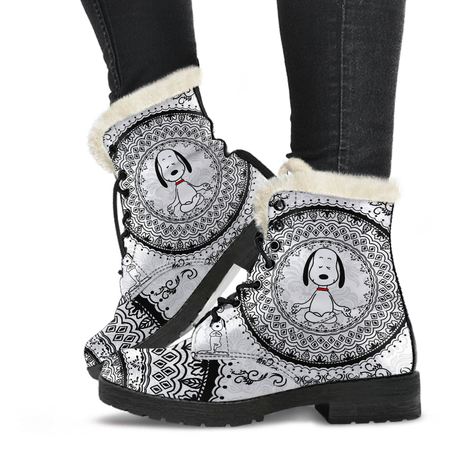Yoga Snoopy - Faux Fur Leather Boots