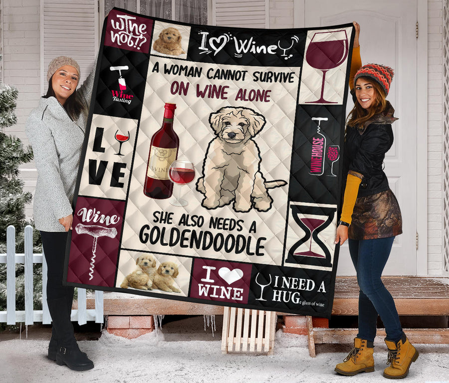Wine and Goldendoodle - Premium Quilt